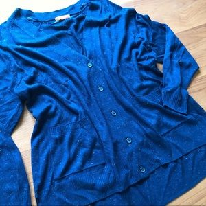 Button Up Cardigan with Silver Thread Details